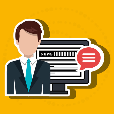 newsreader: reporter avatar with computer isolated icon design, vector illustration  graphic