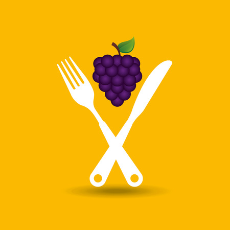 grapes on plate, fresh fruit icon, vector illustration