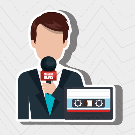 newsreader: reporter avatar with cassette isolated icon design, vector illustration  graphic Illustration