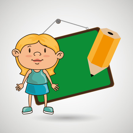 kid with chalkboard and pencil  isolated icon design, vector illustration  graphic