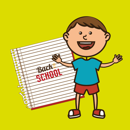 kid with notebook isolated icon design, vector illustration  graphic