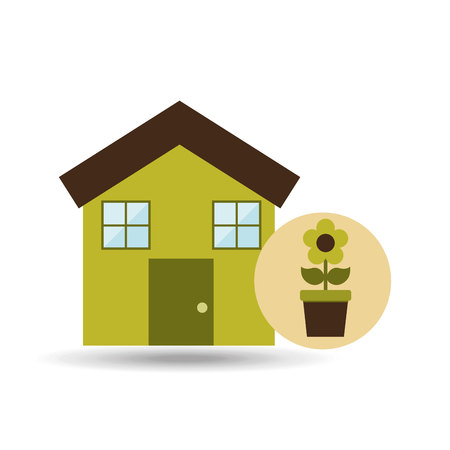 gree: ecology house with gree flower icon, vector