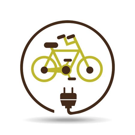 energie te besparen icoon, groene fiets, vector illustratie Stock Illustratie