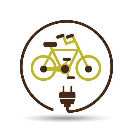 save energy icon, green bike, vector illustration