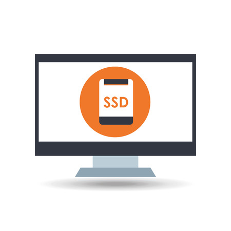 ssd: tech computer and ssd icon, vector illustration