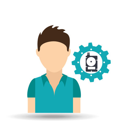 ssd: male person with ssd icon, vector illustration