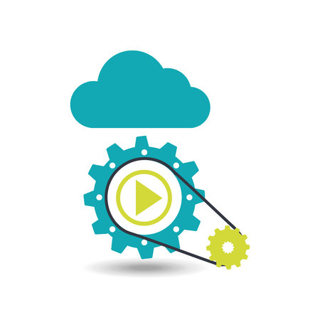 cloud security and gear icon, vector illustration