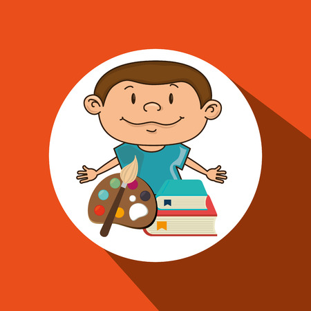 child with a palette of paints and books isolated icon design, vector illustration  graphic