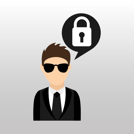 security man: security man with protection icon, vector illustration Illustration