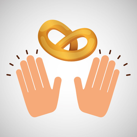 hand with pretzel, bakery food icon, vector illustration