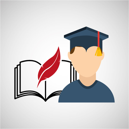 university grad, education ceremony icon, vector illustration Illustration