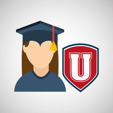 commencement: university grad, education ceremony icon, vector illustration Illustration