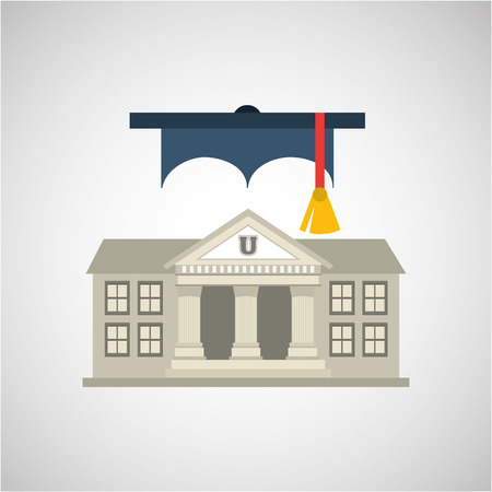 commencement: university building, education ceremony icon, vector illustration Illustration