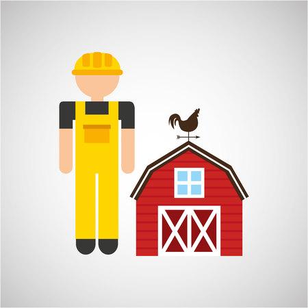 market gardening: farmer and farm icon, vector illustration design