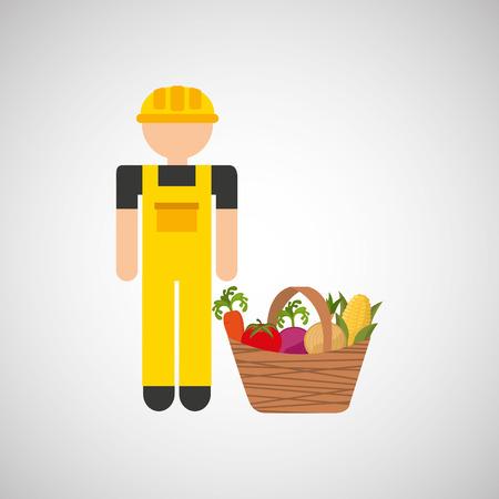 market gardening: farmer worker and farm icon, vector illustration