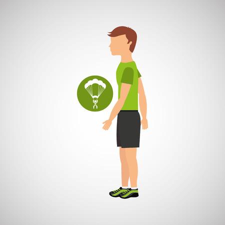 brave of sport: man practicing parachute icon , vector illustration design Illustration
