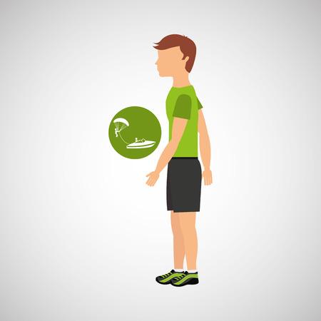 man practicing parachute icon , vector illustration design Illustration