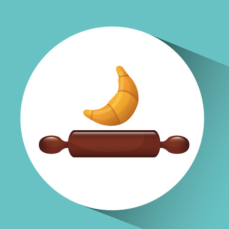 plate of food: croissant in plate, bakery food icon, vector illustration