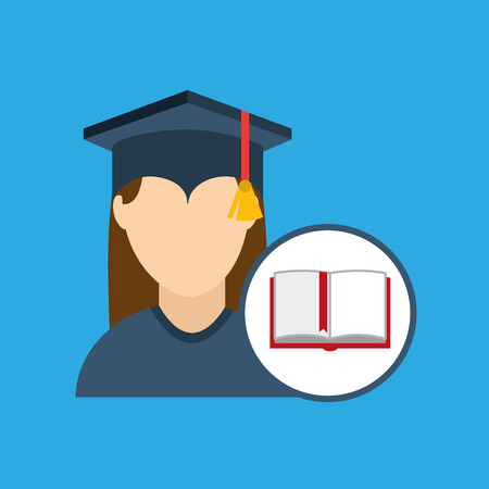 university grad, education ceremony icon, vector illustration Illustration