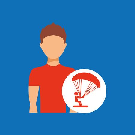 competencias laborales: hombre practicando icono de paracaídas, diseño de ilustración vectorial Vectores