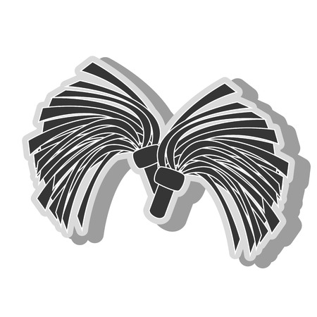 cheer leading: cheerlader pom icon in black and white colors, isolated flat design Illustration