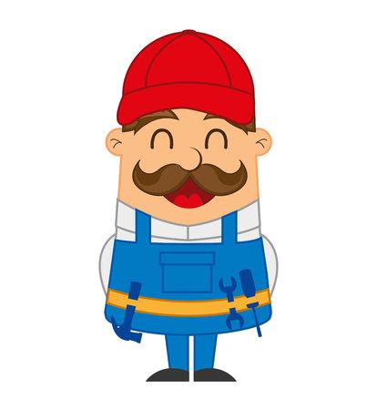 mechanic man: mechanic man character icon vector illustration design