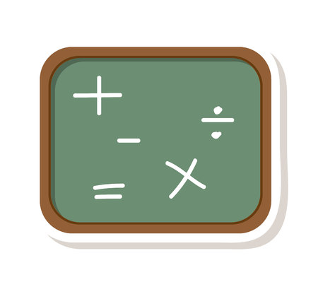 greenboard: chalkboard math class icon vector illustration design