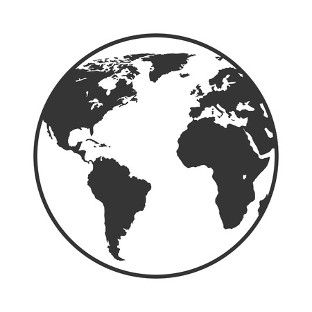 Earth world map sphere in black and white colors isolated flat earth planet world isolated flat icon design vector gumiabroncs Image collections