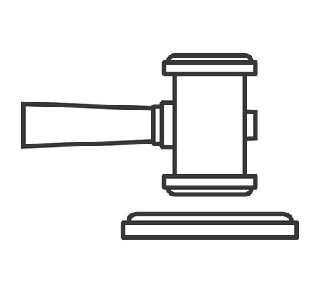 defendant: hammer wood gavel icon vector isolated design