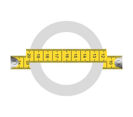 inches: tape measure ribbon icon vector illustration graphic