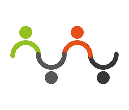 human figure: Icono de la ilustración vectorial grupo de trabajo en equipo figura humana Vectores