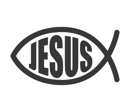episcopal: fish jesus christ word icon vector illustration design