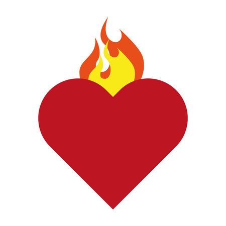 sacred heart: heart sacred flame icon vector isolated graphic Illustration