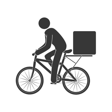 article marketing: courier bike box ,isolated flat icon design