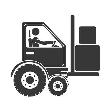 article marketing: forklift boxes machinary ,isolated flat icon design