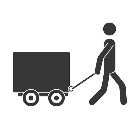 article marketing: courier box whee ,isolated flat icon design Illustration
