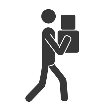 article marketing: courier box deliver ,isolated flat icon design