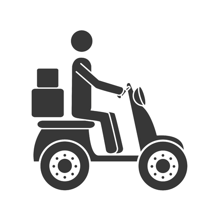 article marketing: courier motorcycle box ,isolated flat icon design Illustration