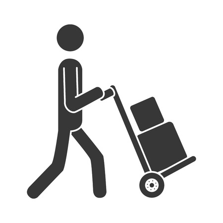 energy distribution: courier wheelbarrow box ,isolated flat icon design