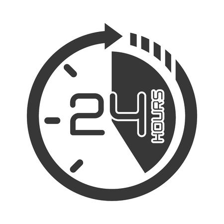 second: twentyfour hours service ,isolated flat icon design Illustration