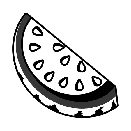 Delicious and fresh watermelon fruit, isolated flat icon design vector illustration.