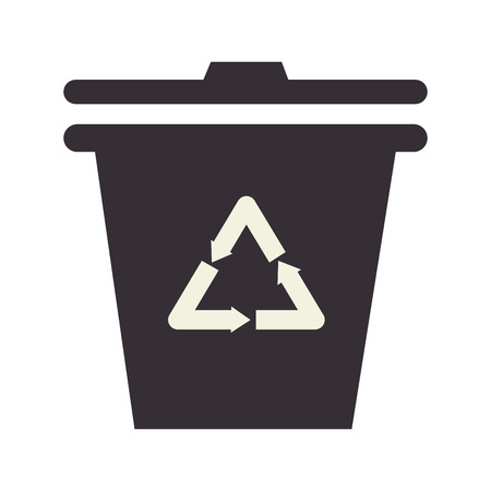 cleaning planet: recycle trash can , isolated flat icon design