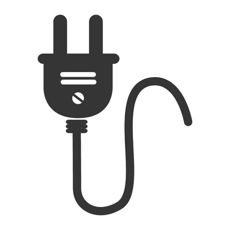 plug electric: wire plug electric , isolated flat icon design Illustration