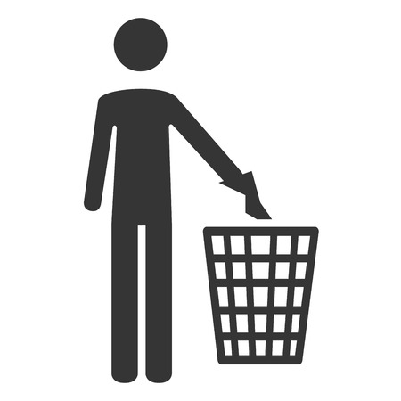 cleaning planet: trash can garbage , isolated flat icon design Illustration