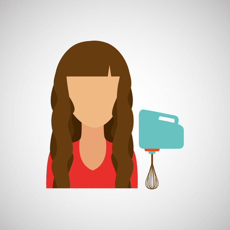 preparations: domestic girl with blender icon, vector illustration