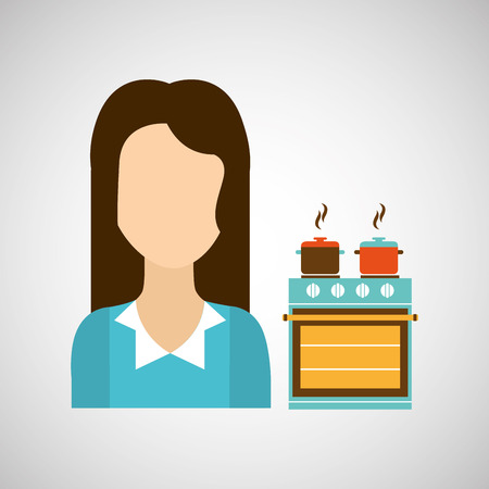 domestic girl with kitchen icon, vector illustration Illustration