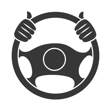 Car steering wheel, isolated flat icon design