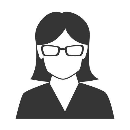 glases: woman profile silhouette, isolated flat icon design Illustration