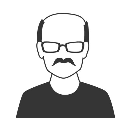 mister: Male profile silhouette, isolated flat icon design