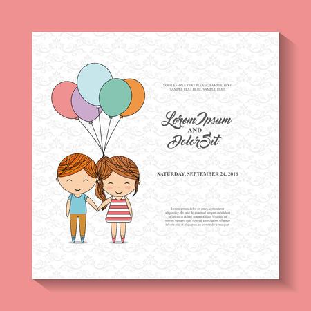 couple date: Invitation and save the date concept represented by balloons cute couple cartoon of girl and boy icon. Colorfull and flat illustration. Illustration